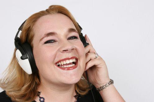 businesswoman listening to her favorite music